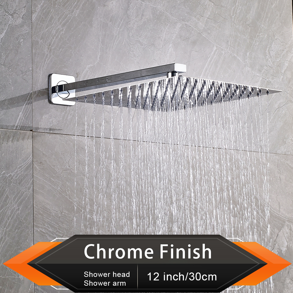 "Image 2 - Brushed Golden Rainfall Shower Head Bathroom 8/10/12"" Ultrathin Style Top Shower Head with Wall Mounted Shower Arm-in Shower Heads from Home Improvement"