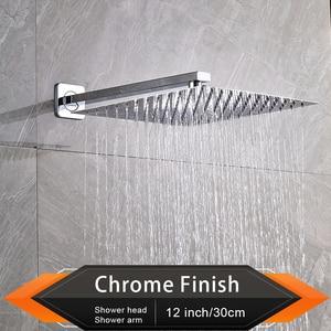 """Image 2 - Rozin fırçalanmış altın yağış duş başlığı banyo 8/10/12 """"ultra ince stil tepeden duş başlığı ile duvara monte duş kolu"""