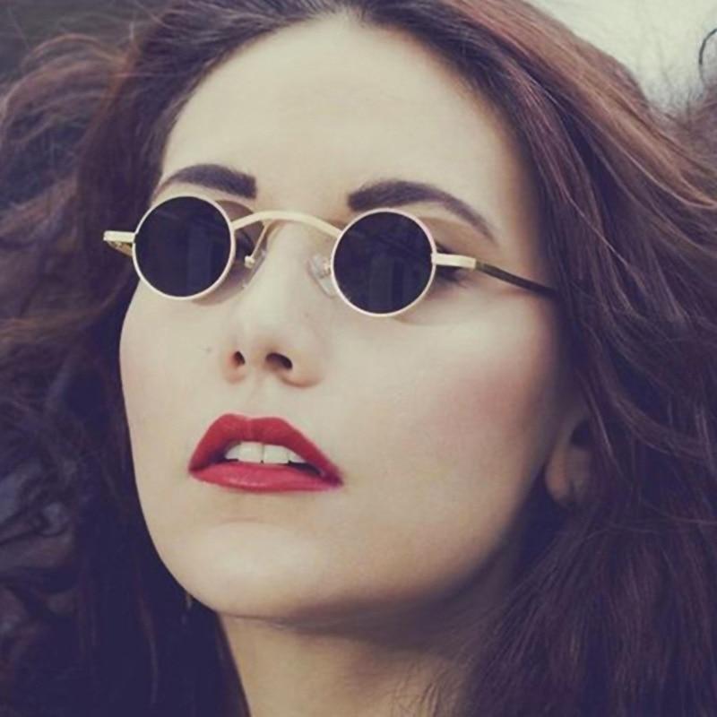 Женские винтажные круглые солнцезащитные очки унисекс, модные брендовые солнцезащитные очки в стиле ретро, узкие маленькие металлические ...