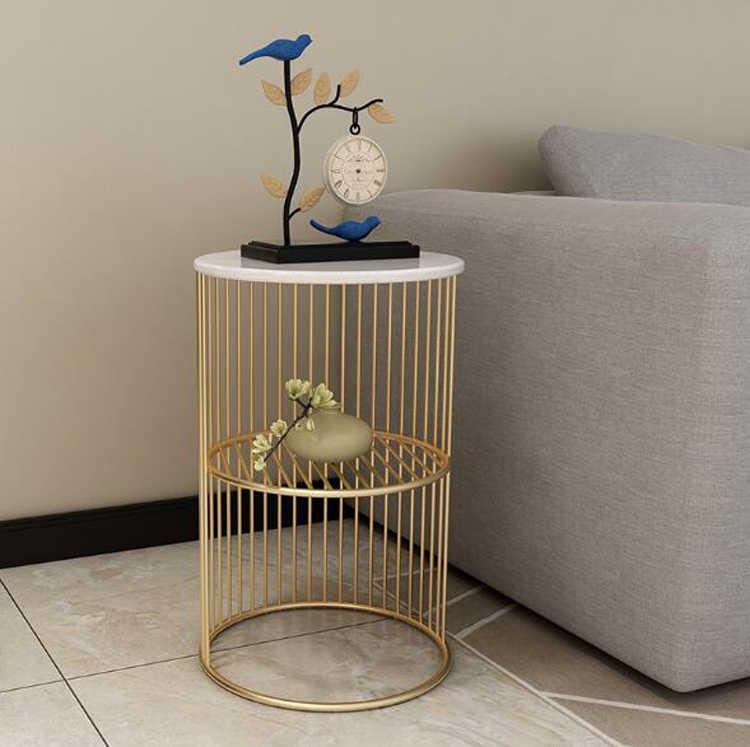 Iskandinav basit altın demir sehpa oturma odası Minimalist yatak mermer küçük masa kanepe masa raf raf depolama