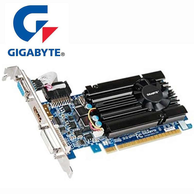 GIGABYTE GT610 1 جيجابايت بطاقة الفيديو 64Bit GDDR3 GV-N610D3-1GI بطاقات الرسومات ل nVIDIA Geforce GT 610 1 جيجابايت HDMI Dvi VGA بطاقات تستخدم
