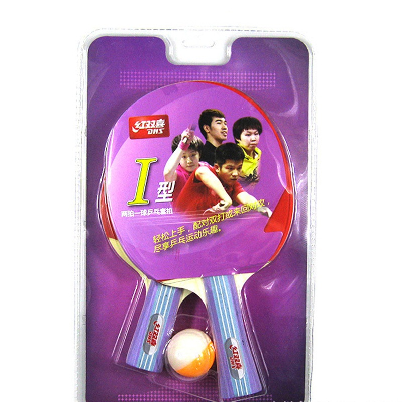 Dhs I-Shaped Table Tennis Racket Double Row Long Handle Short Handle Beginners Students Training Game Only Transverse Penhold