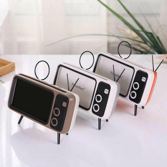 Mini Portable Retro BT Bluetooth Speaker Music TV Design Mobile Phone Holder Speaker Stereo Outdoor Sound
