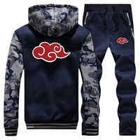 Naruto Akatsuki Trainingsanzug Winter Männer Set Dicke Fleece Jacken + Hosen 2 Stück Setzt Warme Hoodies Anzug Herren Japanischen Streetwear