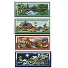 Four Seasons Scenery 11CT 14CT Cross Stitch Kit, Beautiful Castle Embroidery Spring, Summer, Autumn and Winter Paintings