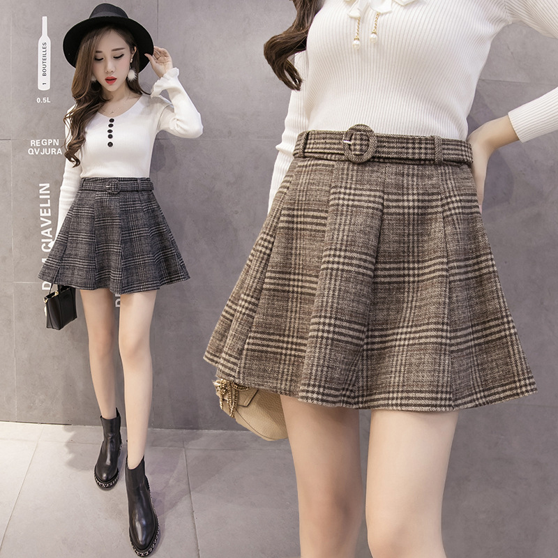 Fashion Woolen Plaid Skirt Fall And Winter Clothes College Style Versatile Woolen Cloth Short Skirt Anti-Exposure Belt Tutu Wome