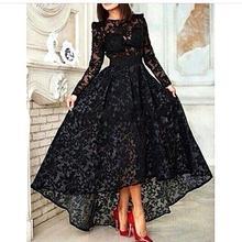 Black Lace Long Sleeve Arabic Evening 2018 Front Short Long Back High Low Prom Party Dubai Arabic