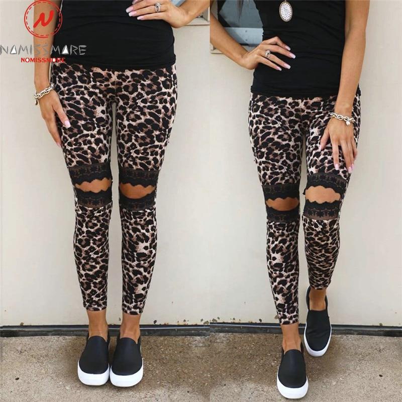 Fashion Women Summer Leopard Print Pants Patchwork Design Lace Decor Elastic High Waist Slim Hips Trousers For Streetwear
