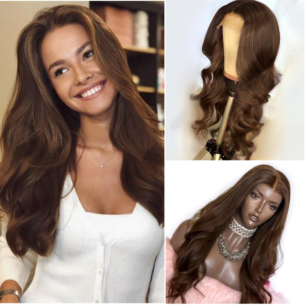 Dark Brown Human Hair Wig Full Lace Wigs With Baby Hair Natural Wave Brazilian Remy Hair Bleached Knots Glueless Wig For Women