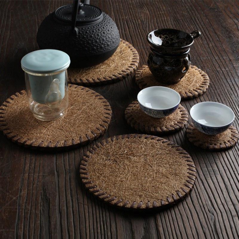 Creative Manual Coaster Teapot Mat Bamboo Mat Insulation Tea Mat Ceremony Six Gentlemen Tea Art Tea Ceremony Accessories Q1