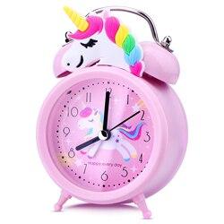 Единорог детский Будильник двойной сигнал тревоги часы с Подсветка милый настольные часы украшения дома Будильник подарки для детей