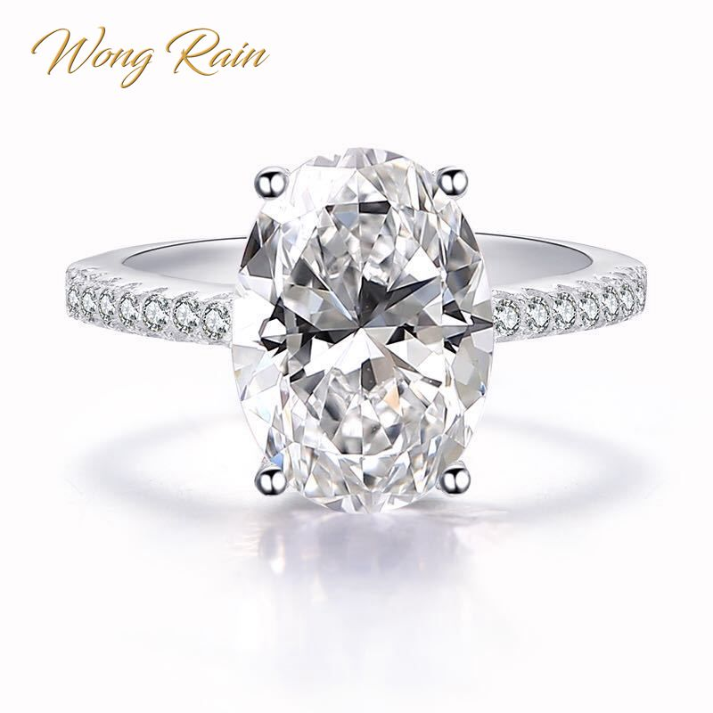 Wong Rain Classic 100% 925 Sterling Silver 9 CT Oval Created Moissanite Gemstone Wedding Engagement Ring Fine Jewelry Wholesale