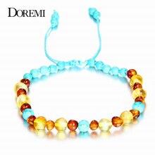DOREMI 9 New Natural Amber Bracelets for Baby Women Turquiose Amethyst Strand Baltic Beads Bracelet Handmade Jewelry