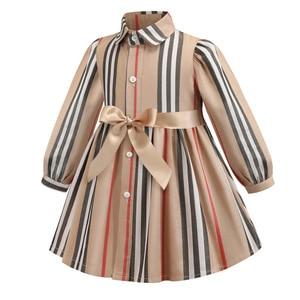 Image 2 - 女の子ドレス長袖 2020 春子供ドレスガールズストライプボウ子供幼児のためのガール服 2 6Years