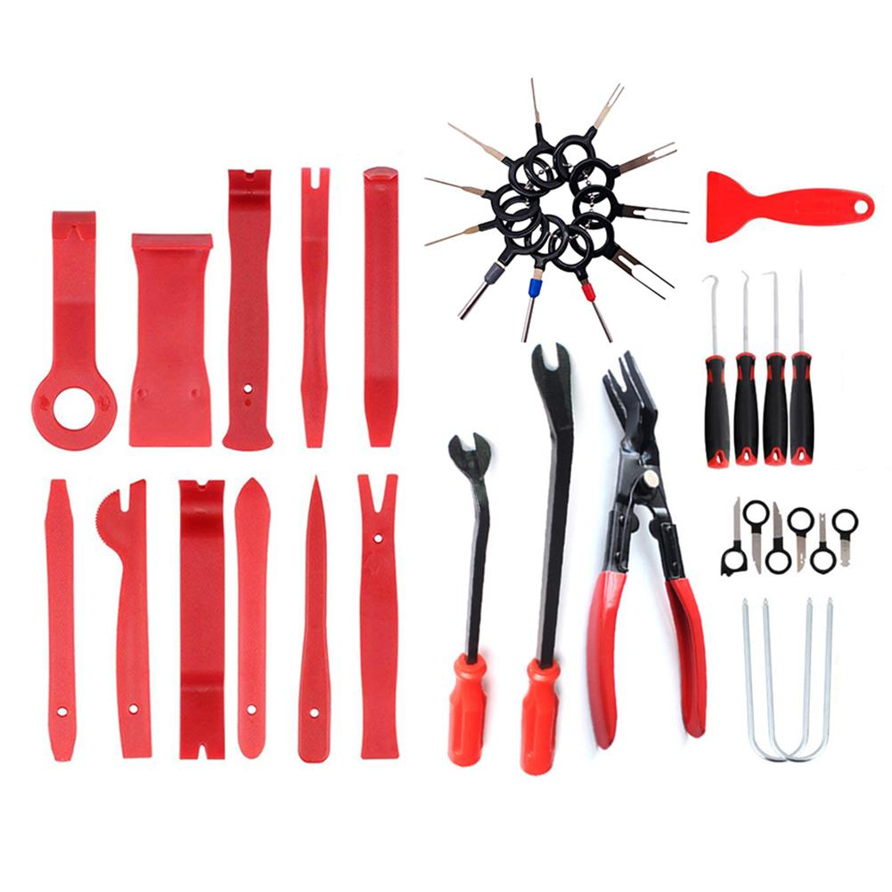 38Pcs Car Door Panel Trim Removal Tools Door Panel Trim Dashboard Clips Puller Pliers Fastener Removal Tools Kit Car Accessories
