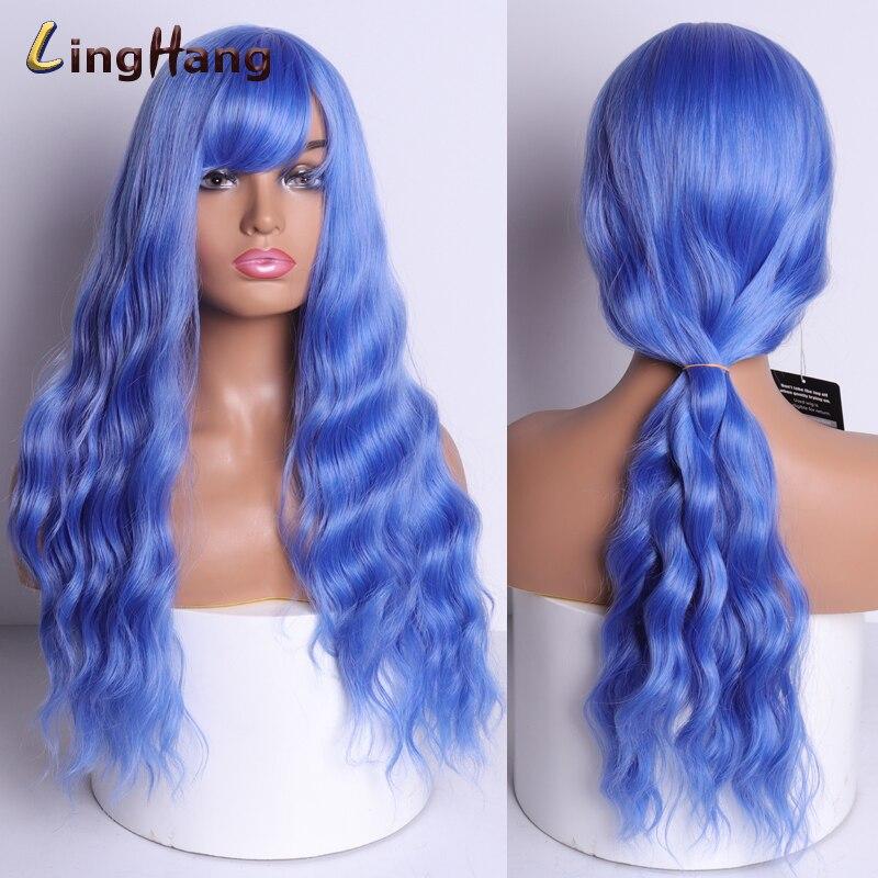 Linghang feminino cosplay cabelo longo ondulado peruca
