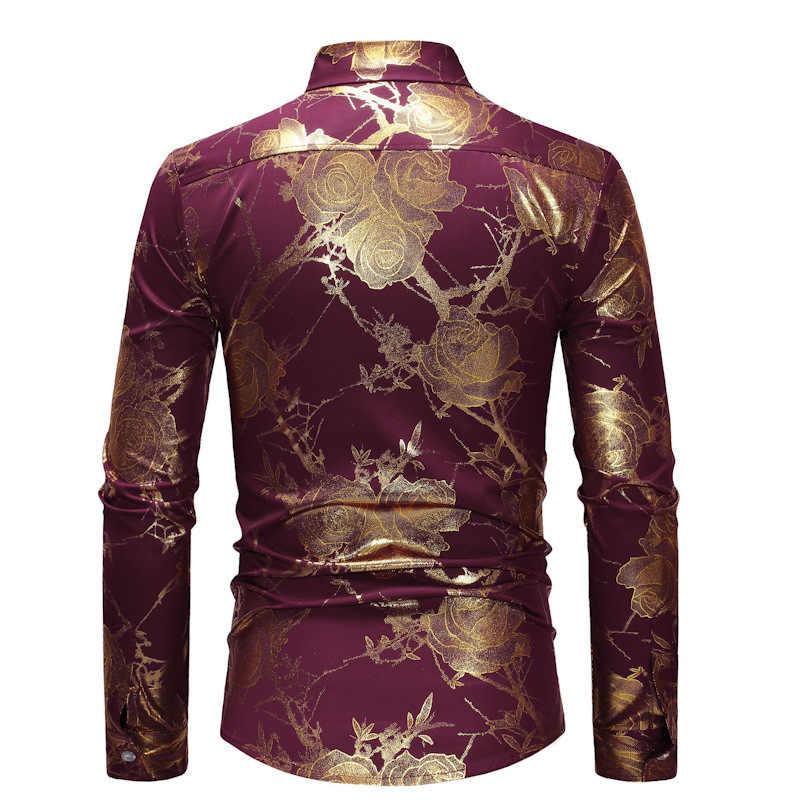 SHINY Gold Rose ดอกไม้เสื้อผู้ชาย 2020 แฟชั่น Slim เสื้อแขนยาวผู้ชาย PARTY ธุรกิจเสื้อลำลองชายเสื้อ Camisas Hombre สีดำ