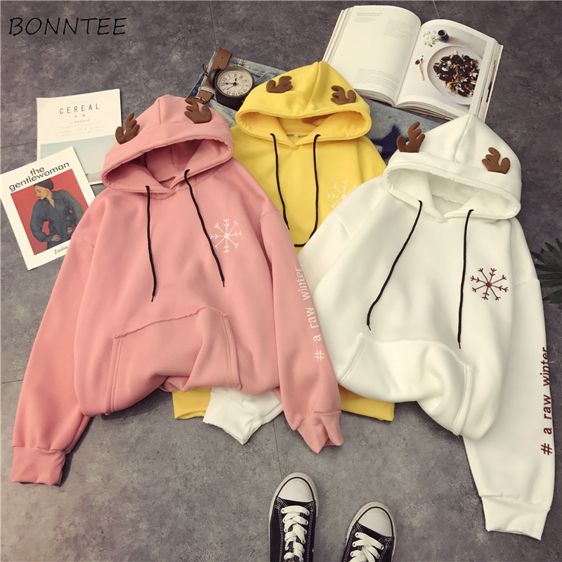 Hoodies Women 2020 Harajuku All-match Lazy Letter Printed Long Sleeve Pockets Womens Pullover Hooded Ladies Sweatshirts Chic