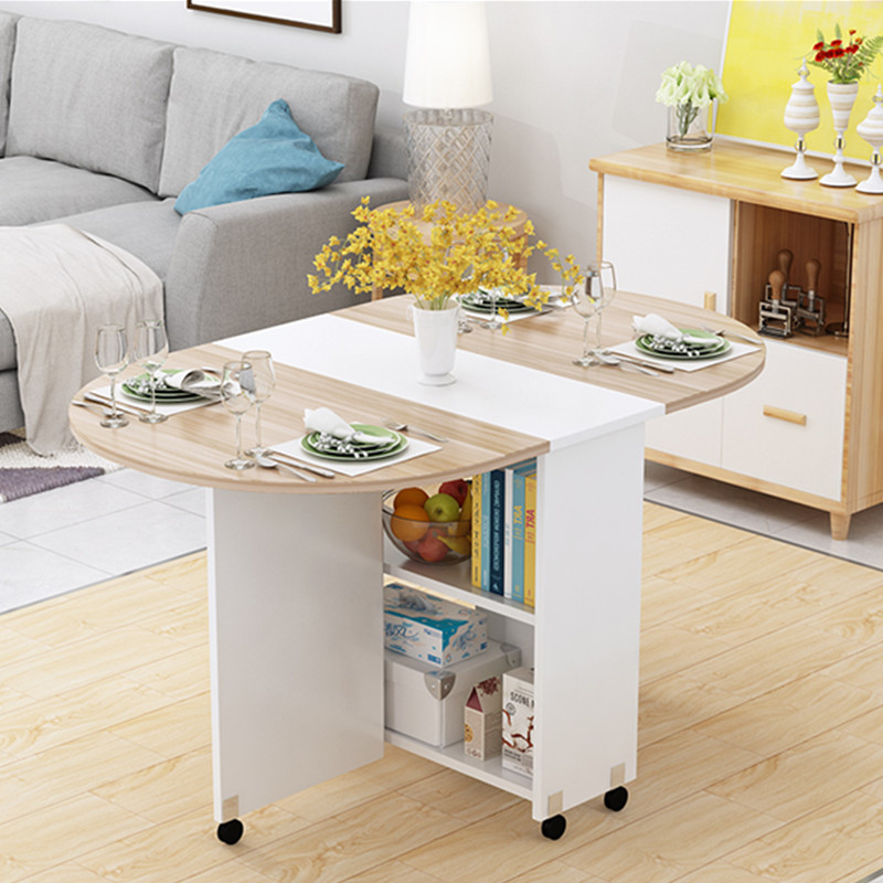 Folding Movable Dining Table With Multidirectional Wheel Wooden Kitchen Table Storage Cabinet Portable Mesa Centro Elevable