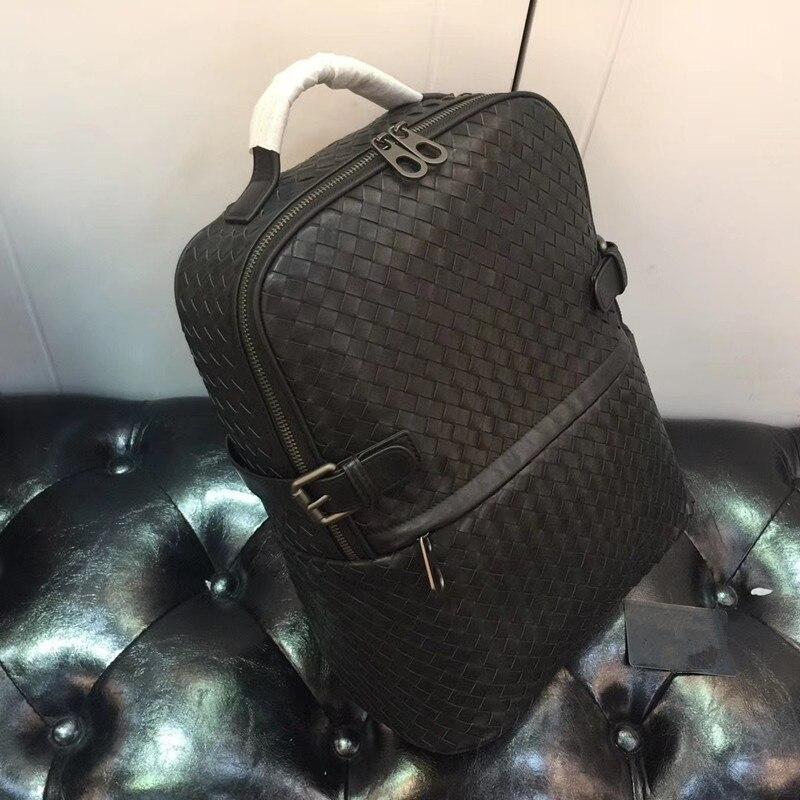 Kaisiludi duplex couro tecido bolsa de viagem camada superior pneu mochila de couro senhoras casal pacote sacos de computador volumoso - 3