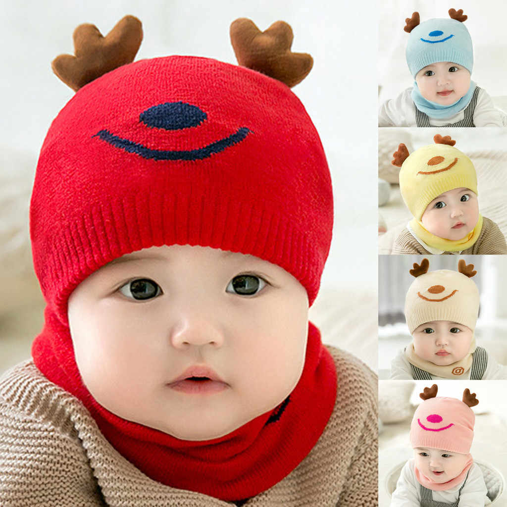 Baby Christmas Hats And Scarf Boy Girl Knitted Children's Lovely Soft Hat+Scarf Two Piece Set cache cou enfant czapki dla dzieci