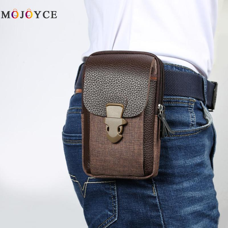 Zipper Men Waist Bags Small Card Holder 6 Inch Phone Packs Belt Bag Fanny Pack