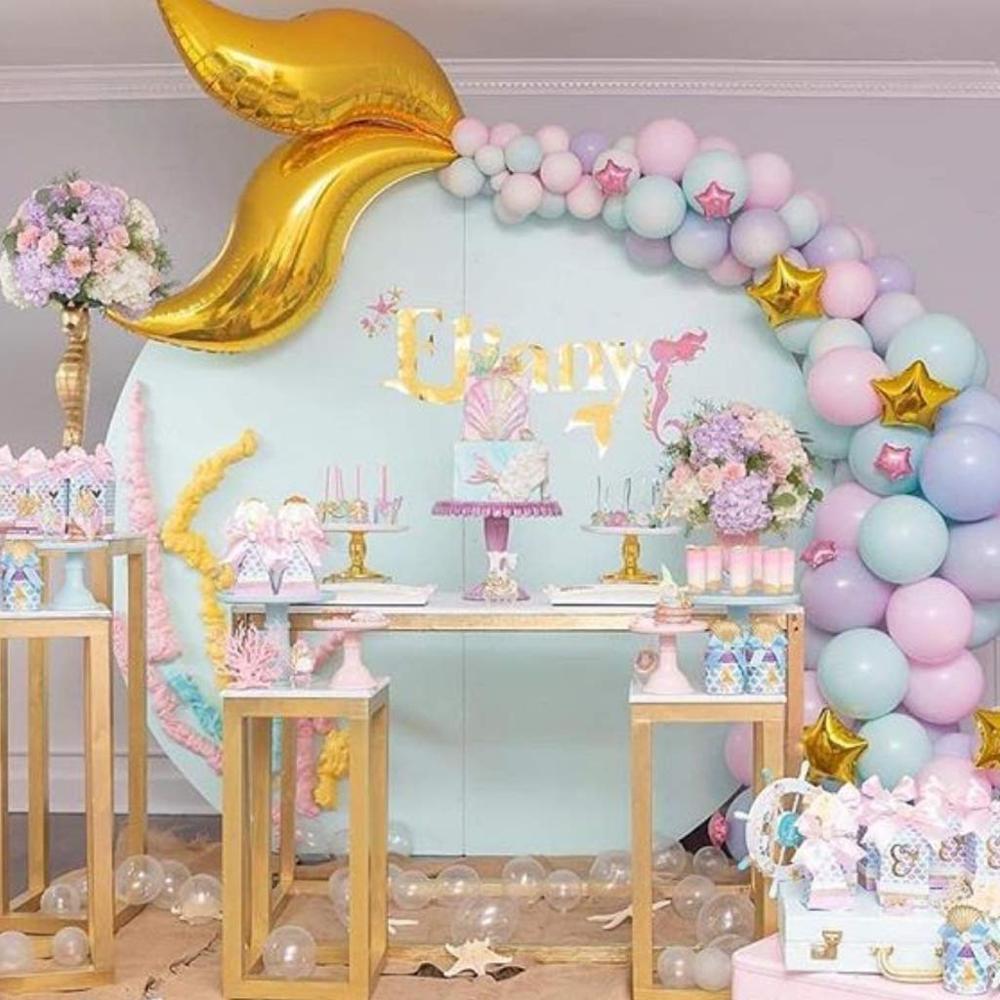 Globo de cola de sirena, decoración de fiesta de cumpleaños de La Sirenita bajo el mar, 1ª fiesta de cumpleaños para niña, fiesta de bienvenida de bebé 5D DIY pintura de diamantes de la religión de cristal pintura de diamante punto de cruz escénico costura ala de Ángel amor hogar decorativo BJ688