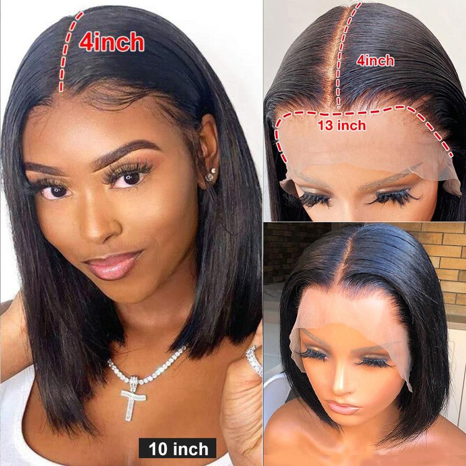 13x4 reta frente do laço perucas de cabelo humano pré arrancadas com linha fina natural brasileiro remy frontal peruca curto bob perucas