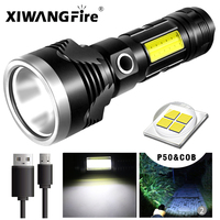 XHP50+COB FlashLight Built-in Battery Powerful LED Flash Light 6 Modes USB Rechargeable Camping,Fishing Torch with Power Bank