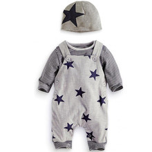 3PCS Set Baby Clothes Sets Newborn Stripe T-shirt Top Bib Pants Overall Hat Outfits Long Sleeve Winter Autumn