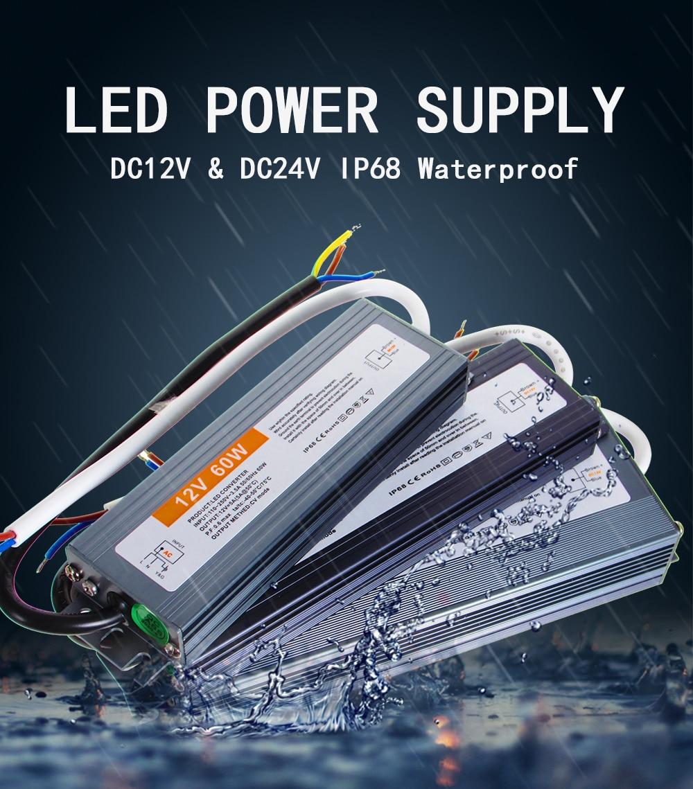 AC DC 12V 24 V импульсный источник питания 12 24 V Вольт IP67 IP68 открытый водонепроницаемый 24 V источник питания AC-DC 220V до 12V SMPS 10W-400W