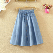 Spring / summer 2019 new school style mid length denim skirt with high waist A-line skirt student stripe skirt(China)