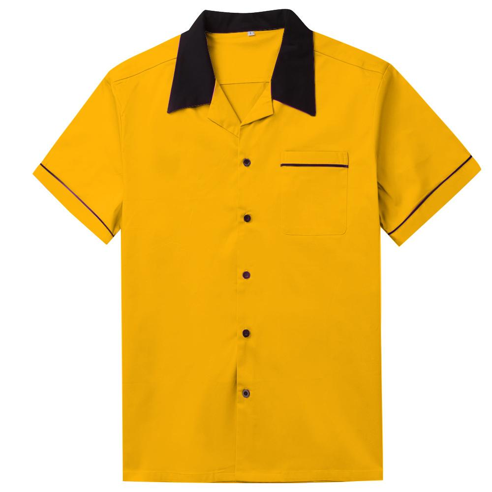 White Bowling Shirt Short Sleeve Classic Retro Shirt ST117Y Yellow Red Cotton Mid-century Inspired Style Men Shirts
