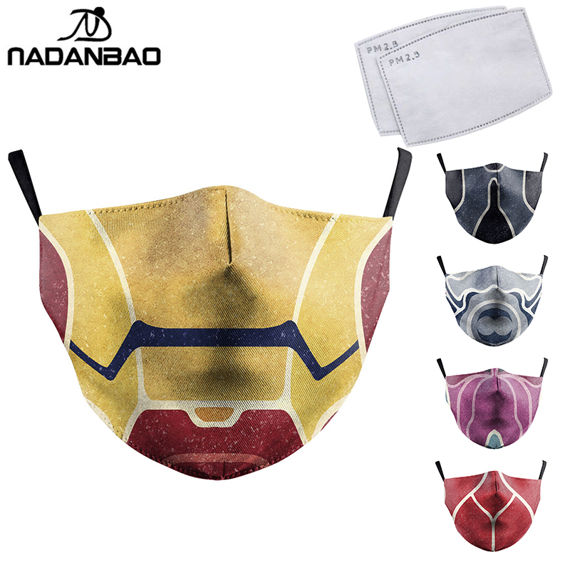 NADANBAO Superhero Cosplay Face Masks Print Fabric Mask Adult Protective PM2.5 Reusable Mouth Cover Dust Washable Mouth Masks