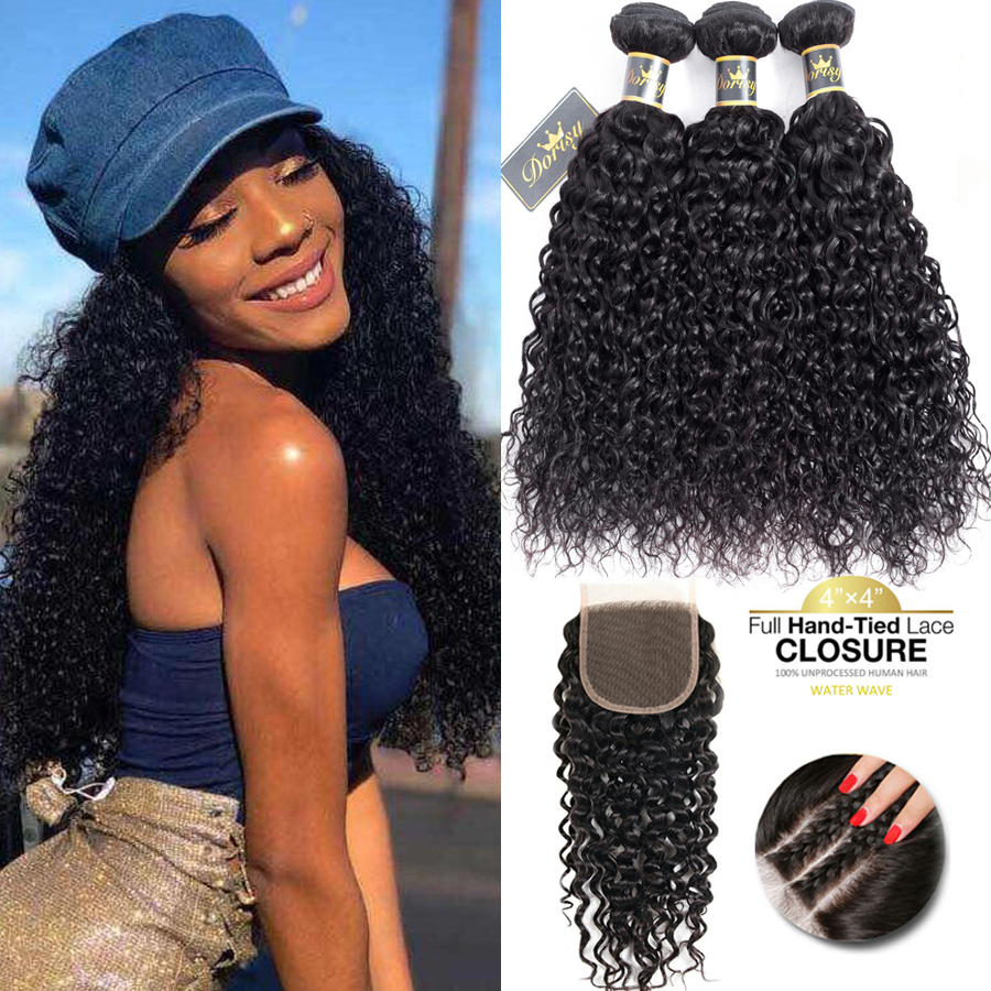 Curly Hair Bundles With Closure Brazilian Human Hair Bundles With Closure Lace Closure With Bundles Non Remy Kinky Curly Hair