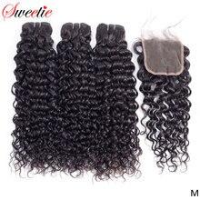 Doce onda de água pacotes 3 pacotes com fechamento do laço 100% cabelo indiano tecer não remy feixes de cabelo humano com fechamento