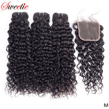 Extensiones con ondas al agua dulces, 3 mechones con cierre de encaje 100% cabello indio ondulado extensiones de cabello humano no Remy con cierre