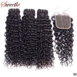 Милые волнистые пучки воды 3 пучка с закрытием шнурка 100% индийские волосы плетение не-Remy человеческие волосы пучки с закрытием