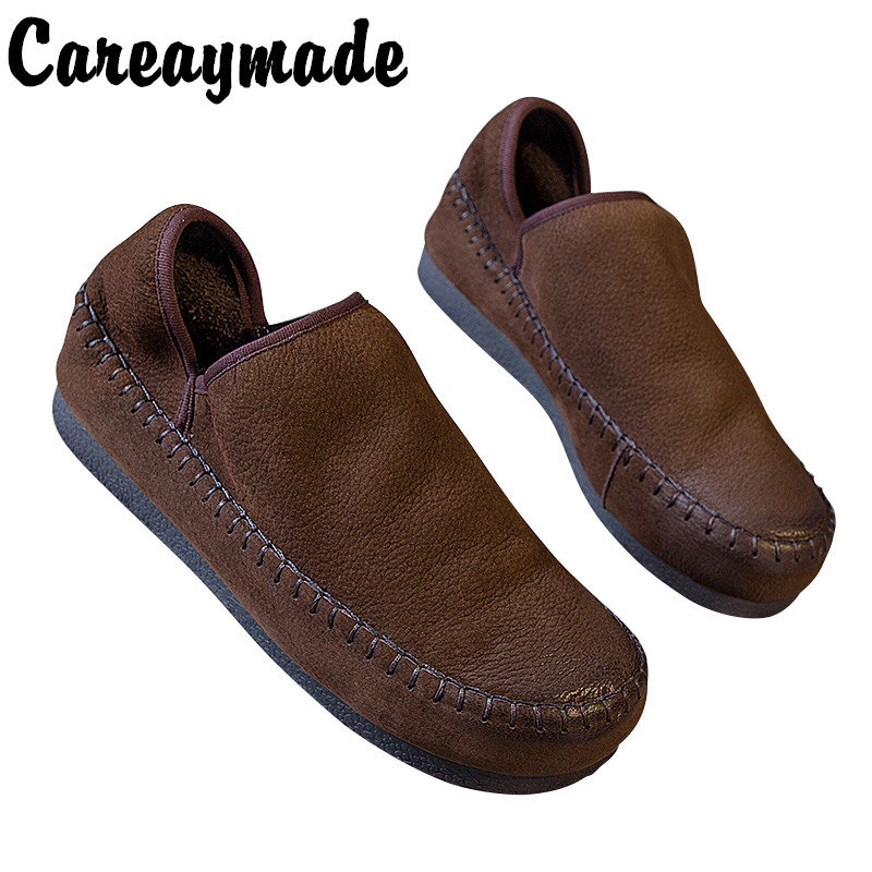 Careaymade-College style of Retro Literature and Art Vehicle Sewing Line Comfortable Soft Cowhide Womens Single Shoes