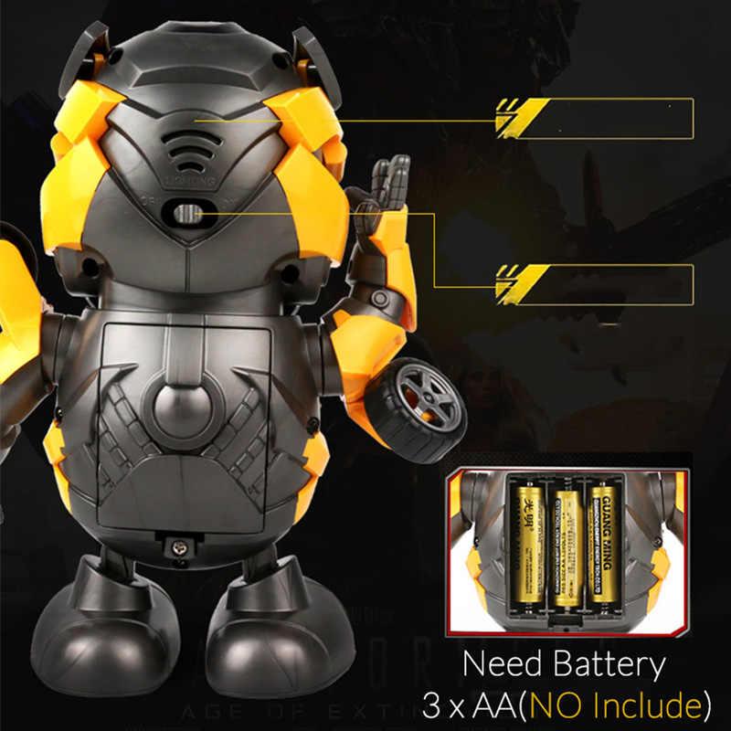 Tão Bonito 20 CENTÍMETROS Espaço de Dança Robô Inteligente Eletrônico Andando Brinquedos modelo Com Luz Led Música Brinquedos Para O Aniversário Do Miúdo presente para As Crianças Bumblebee