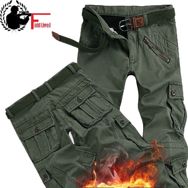 Winter Warm Fleece Pants Mens Thick Chinos Cargo Pants Many Pocket Baggy Work Military Overalls Male Trousers Men Clothing 2019