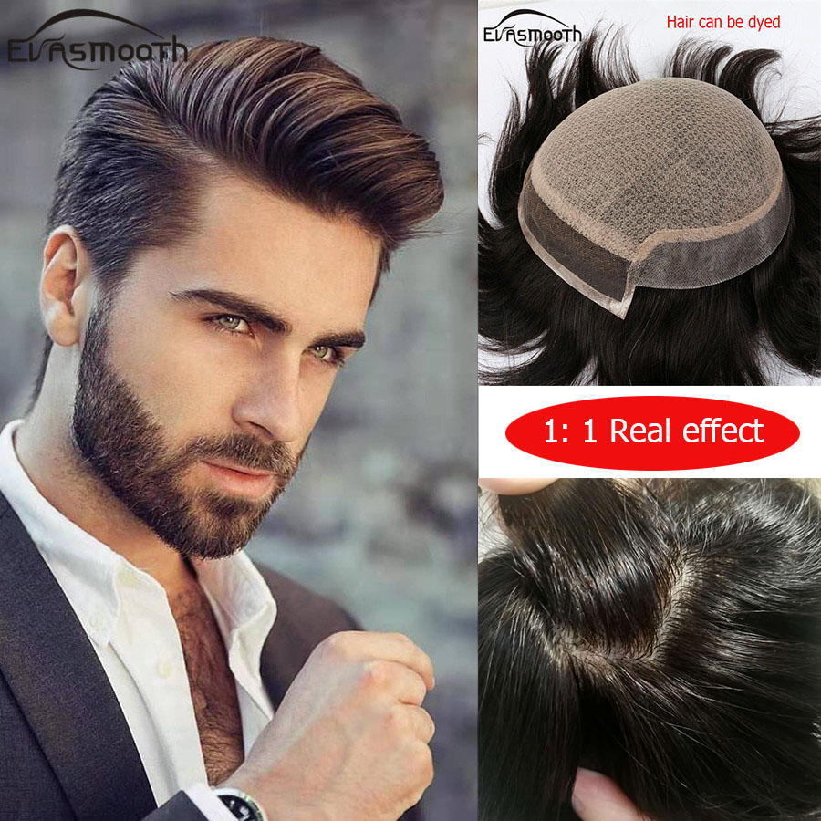 Silk Base Mens Wigs Natural Human Hair Men Toupee Indian Remy Hair Male Lace Wig Replacement Hairpiece System Prosthetic Hair