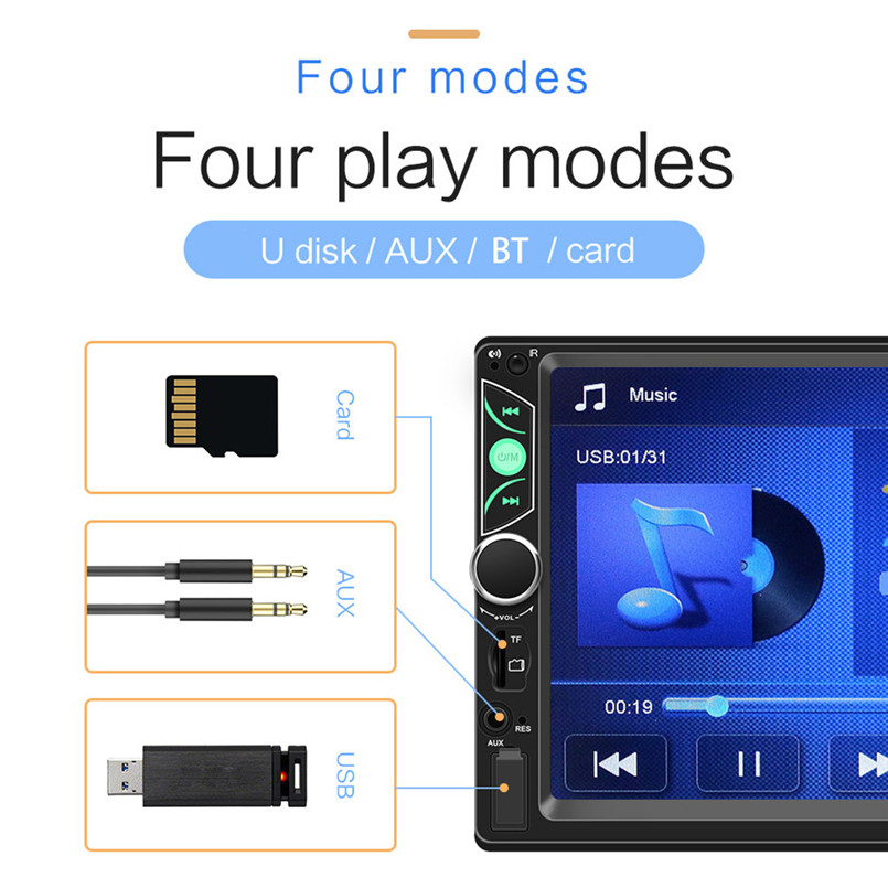SWM-S7 7 Inch HD Touc-h Big Screen Car BT MP5 Player Car MP3 Card Machine FM With CD Player DVD 50AUG1209
