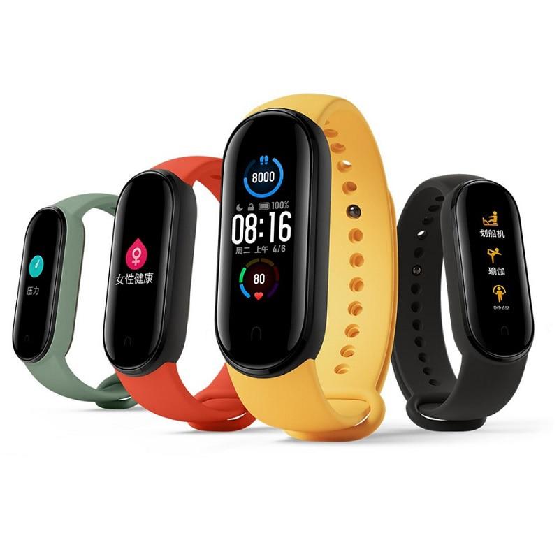Оригинальный Смарт-браслет Mi Band 5, цветной AMOLED экран 1,1 дюйма, фитнес-трекер с пульсометром, Bluetooth 5,0, водонепроницаемый Miband 5