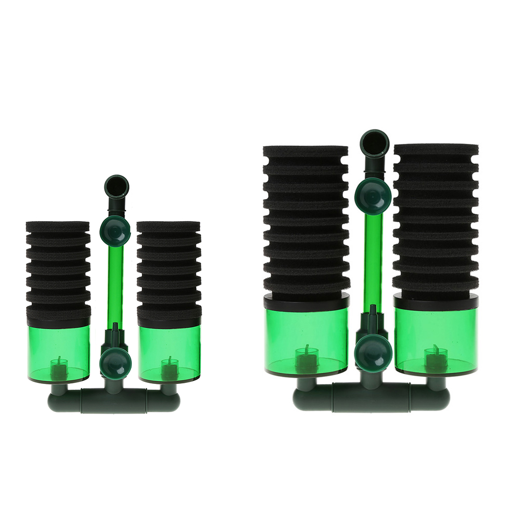 Aquarium Fish Tank Biochemical Sponge Filter Air Pump Double Head w Suction Cup Fish Tank Filters
