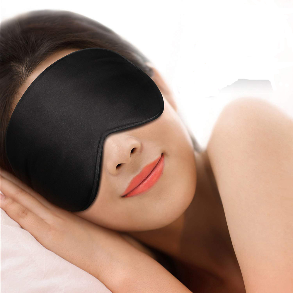 Ultra Soft Skin-Friendly Sleep Mask Pure Natural Silk Fabric And Natural Cotton Filled Sleeping Eye Mask With Adjustable Strap