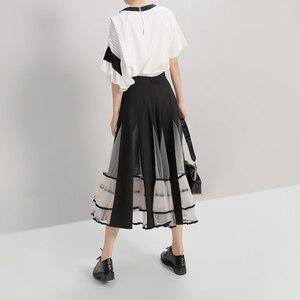 Image 5 - חדש 2020 נשים שחור אלסטיות גבוהה מותניים חצאית רשת טלאים אונליין גבירותיי קוריאני אופנה אלגנטית חצאית מקרית רחוב סגנון 5409