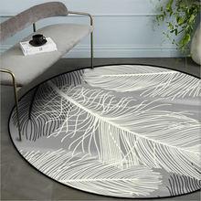 Коврик для спальни с рисунком скандинавских перьев, нескользящий круглый ковер, ковры для гостиной, гостиной, аксессуары для стола