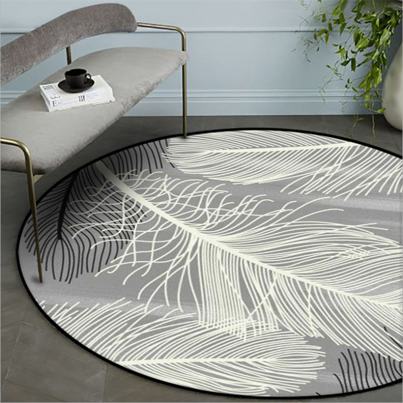 Area Rug For Bedroom Nordic Feather Pattern Non-slip Round Carpet Carpets For Living Room Living Room Table Accessories
