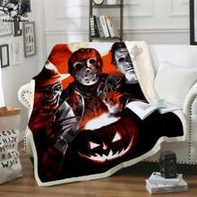Plstar Cosmos Halloween Fleece Deken Horror Movie Scream Team Zombie Brid Deken 3D Print Sherpa Deken Op Bed Thuis Stijl-1